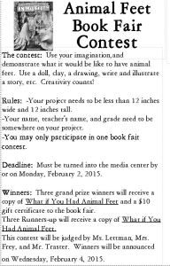 1 animal feet book fair contest
