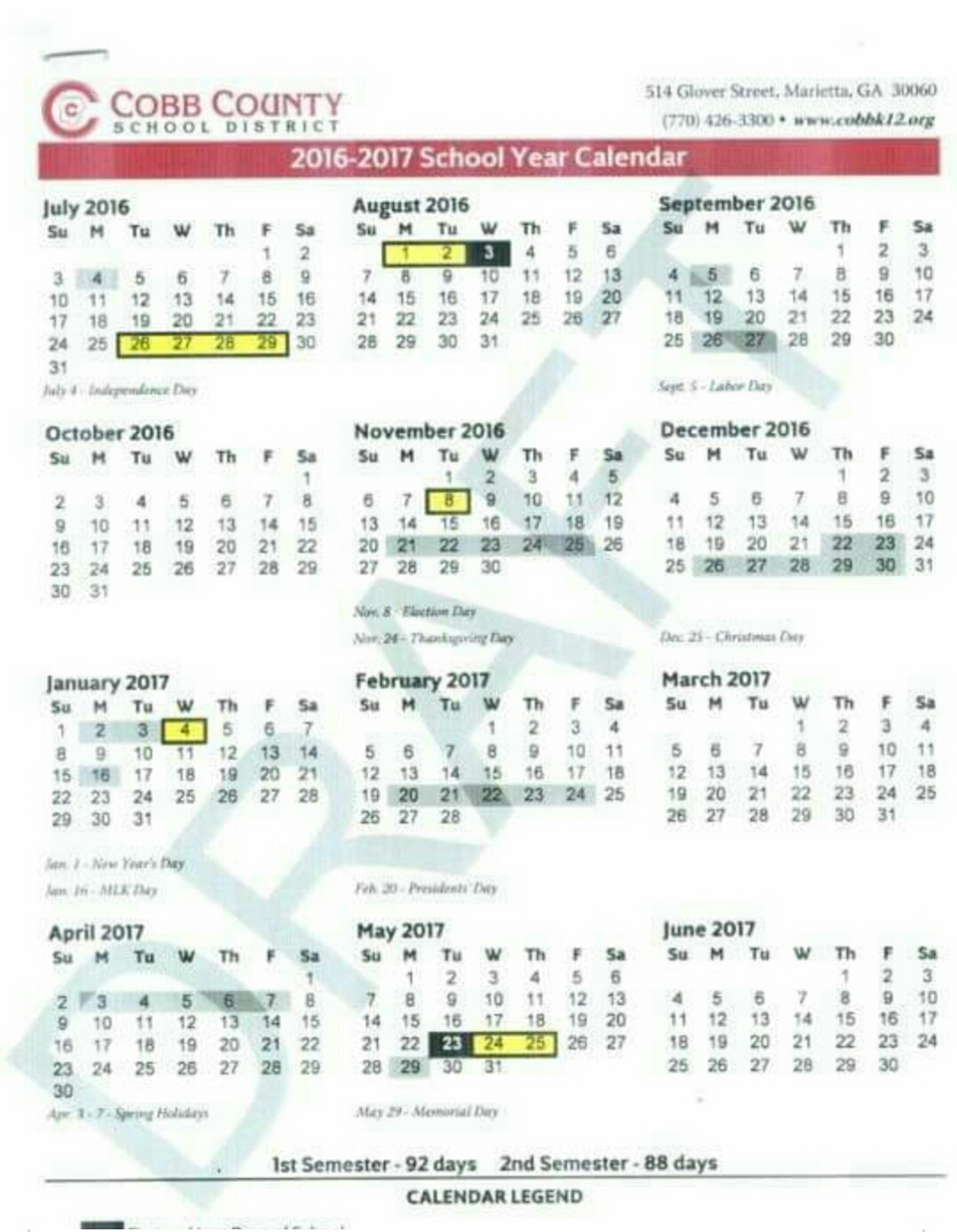 Proposed 2016 17 School Calendar Cobb County « Kennesaw Charter