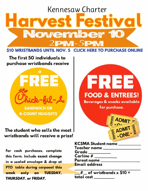 Kennesaw Charter Harvest Festival Contest Flyer - Click Here